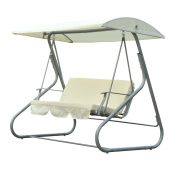 Outsunny 3 Person Patio Swing Chair w/ Canopy Shade - Cream White