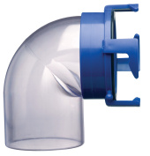 Prest-O-Fit 1-0021 Blueline 90. Clear Hose Adapter