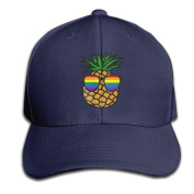 Gay Pride Pineapple Adjustable Baseball Caps Unstructured Dad Hat 100% Cotton Black