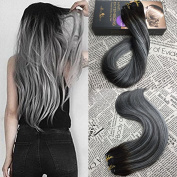 Moresoo 60cm Remy Human Hair Extensions Clip in Hair Balayage Colour Off Black #1B to Silver Grey Straight Clip in Human Hair Extensions Full Head 7pcs/120g