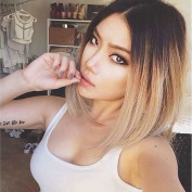 WTB Hair 36cm Short Bob Wig Light Brown Ombre Straight Synthetic Wigs For Black Women Gradient Colour Heat Resistant Hair Wig