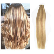 TheFashionWay 41cm - 60cm Brazilian Human Hair Extensions Tape in Silky Straight Weft Remy Virgin Hair