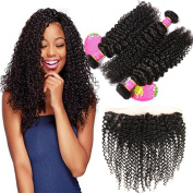 B & Q Curly Wave 3 Bundles and 13x4 Lace Frontal Closure, 7A Brazilian Unprocessed Virgin Human Hair Bundles with Free Part Lace Frontal Closure