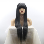 MeiRun 180% Density Full Lace Wig Human Lace Front Wigs Virgin Straight Wig with Baby Hair Human Hair with Bangs Natural Black