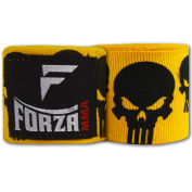 Forza MMA 460cm Mexican Style Boxing Handwraps - Skulls Yellow