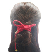 FANTAC CRAFTS 120cm Vintage Red Hair Band Long String Hair Rope Ring Jingle Bell Accessories