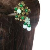 FANTAC CRAFTS Vintage Hair Stick Bead Tassel Bronze Flower Updo Bun Chignon Hairpin Chinese Hair Accessories