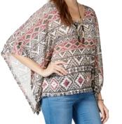 No Comment NEW Beige Size Small S Junior Aztec Crochet-Back Knit Top