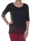 BCX Black Top Blouse 3/4 Sleeve Size M NWT - Movaz