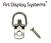 ADS 1 Hole Round Head ZP D-Ring Hanger with 4 1/2 Screws – Pro Quality – 100 Pack by ART DISPLAY SYSTEMS