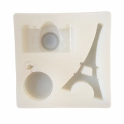 Camera,Eiffel Tower Shapes Silicone Mould with Hole for Polymer Clay, Crafting, Resin Epoxy, Jewellery Pendant Earrings Making, DIY Mobile Phone Decoration Tools,Semi-Transparent