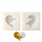 2 pcs / set Heart-shaped Puzzle & Jigsaw Jewellery Silicone Mould with Hole for Polymer Clay, Crafting, Resin Epoxy, Pendant Earrings Making, DIY Mobile Phone Decoration Tools,Semi-Transparent