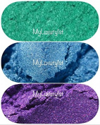 Lot of 3 30ml 84 Grammes total MICA Soap Making Slime Lotion Make Up Pigment Teal Blue Purple Pigment Powder