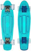 Ridge Skateboards Blaze Mini Cruiser Skateboard - Transparent Blue Deck/white,