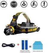 Tooge T6 Waterproof Led Head Torch Zoomable Headlamp. Flashlight With 3 Modes,