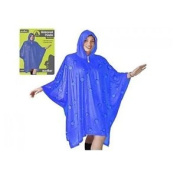 Adult Waterproof Poncho With Hood Blue Design Festival Camping Raincoat -