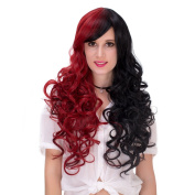 Women's Red Black Long Curly Gradual Colour Halloween Cosplay Wig with Cap 70cm