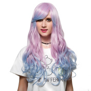 Women's Pink Blue Long Curly Gradual Colour Halloween Cosplay Wig with Cap 60cm