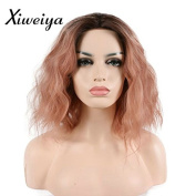 Xiweiya pink synthetic lace front wig with heat resistant fibre water wave curly short pink wig half hand tied for women hair replacement wig