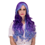 Women's Long Curly Animation Halloween Cosplay Wig with Cap 70cm (14) Gradual Colour