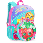 Strawberry Shopkins 41cm Full-Size Backpack With Detachable Lunch Bag