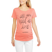 """Planet Motherhood Maternity """"All You Need is Love, and Pizza"""" Short Sleeve Graphic Tee With Flattering Side Ruching"""