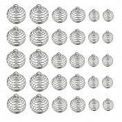 Dreamtop 30pcs Spiral Bead Cages Pendants Silver Plated for Jewellery Making Crafting Findings