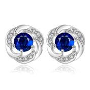Lingduan Round Cut Blue Diamond Stud 925 Sterling Silver Flower Design Earrings