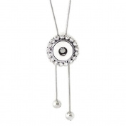 Interchangeable Mini 12mm Snap Jewellery Rhinestone Halo Lariat Necklace by My Prime Gifts