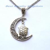 Crescent Moon Necklace,Moon Necklace,Silver sea turtle jewellery, sea turtle pendant,Silver Turtle Pendant, Turtle Necklace, Sea Turtle Charm Necklace