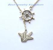 Ships Wheel Necklace, Rudder Pendant, Nautical Jewellery, Boating Jewellery,Origami Crane Necklace, Paper Crane Necklace, Paper Bird Necklace