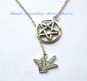 Silver Pentagram Necklace,Handmade Jewellery,Silver Paper Crane Necklace -Paper Bird Necklace