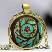 Tree Of Enlightenment Mandala Pendant Necklace, Spiritual Art Meditation Art Heart-shaped Vintage Necklace Women Jewellery