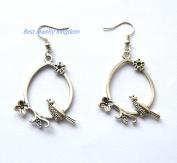 Bird flower earrings, long earrings, silver bird flower earrings, dangle earrings, stocking filler, nature lover gift, kidney ear wires