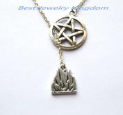 Pentagram Necklace,Silver Pentacle Neklace, Pentagram Pendant,Fire Element Necklace - Silver Fire Element Charm