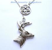 Silver Pentagram Necklace,Handmade Jewellery,Deer Necklace, Deer Pendant, Deer Jewellery, Bridesmaid Gift,Bridesmaid Necklace
