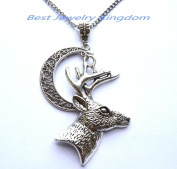 Cresent moon necklace,Silver moon necklace,Simple necklace,Deer Necklaces Deer Jewellery for Woman silver Animal jewellery Christmas necklace