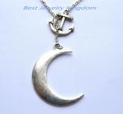 Silver Anchor Necklace,Sea Necklace,Nautical Necklace,silver moon necklace; Large crescent moon necklace; silver moon pendant