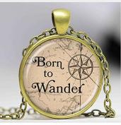 Born to wander letter pendant traveller glass dome necklace men and women pendant