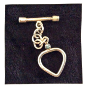 Imagine If…925 Sterling Silver Bali Style Toggle-Heart with Small Aquamarine Stone
