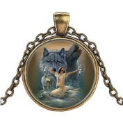 Wolf Cabochon Glass Necklace Pendant,Gifts