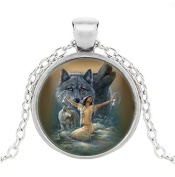 Wolf Cabochon Glass Necklace Pendant, Gifts