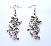silver phoenix earring, symbolic women jewellery, dangle earring, bird jewellery, silver women earring, phoenix jewellery