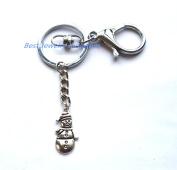 Snowman Charm Keychain, Minimal Keychain, Accessories, Charm Keychain