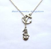 Silver Anchor Necklace,Sea Necklace,Nautical Necklace,Silver Snowman Necklace - Silver Snowman Jewellery - Christmas Necklace