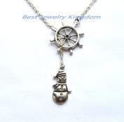 Ship Wheel Necklace, Rudder Necklace, Nautical Jewellery,Snowman necklace, snowman jewlery, christmas necklace, winter jewellery