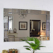 Silver Triple Bevelled Venetian Wall Mirror 1m X 0.7m (100cm X 70cm) Cottonage
