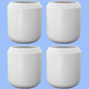 """4 X Thick White Rubber Walking Stick Caps 1"""" High Quality Large Grip Ends 25mm"""
