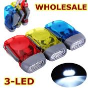 3 Led Hand Pressing Wind Up Crank Power Dynamo Flashlight Torch Light Night Lamp