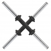 MultiWare Chrome Dumbbell Bars 46cm With Spinlock Collars Weight Lifting Bar 2.5cm Set